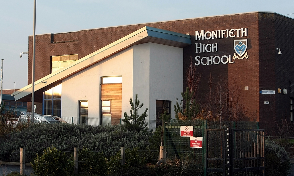 Building exterior of Monifieth High School where the head teacher Richard Coton is reproted to have suffered a black eye in an altracation with a teacher.