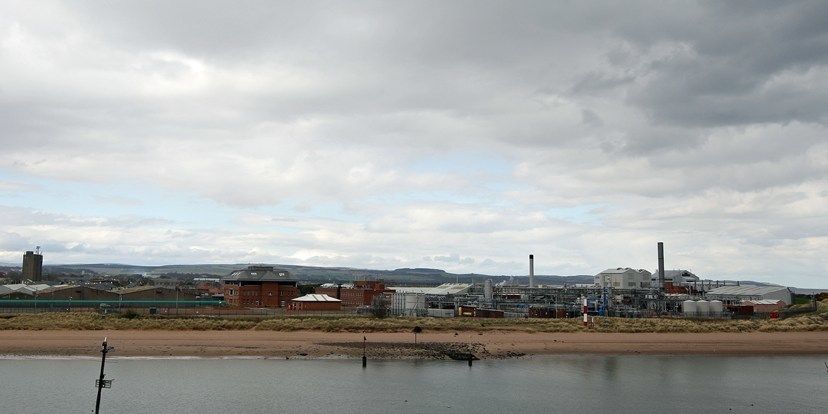 GlaxoSmithKline factory in Montrose to sell off part of it's land for redevelopment - pictured is the factory from Ferryden with the area for redevelopment on the left.