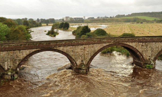 Dangerous: the Lower Northwaterbridge over the North Esk.