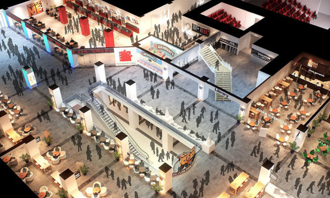 Concept plans of the Wellgate revamp show areas for family restaurants.