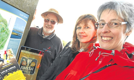 Ramblers Scotland convener David Thomson, Ordnance Survey GeoVation manager Viv Alexander and Michelle Hardaker, whose route was chosen to launch the app.