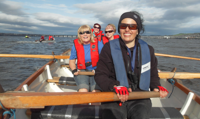 From left: Claudia Lawrence, Elsie Johnstone, Margaret Croisdale and Trisha Bone near the Tay bridges.
