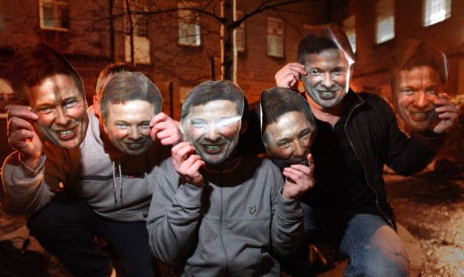 Paul Mann, Billy Hoon and Iain Brown with Craig Whyte masks.