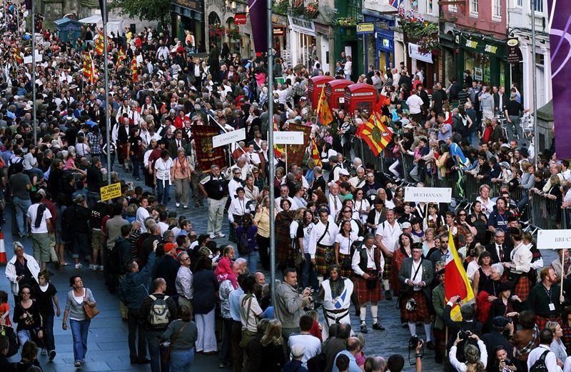 The Gathering 2009, Edinburgh.   Scottish clans march through Edinburgh as part of the Homecoming celebrations.