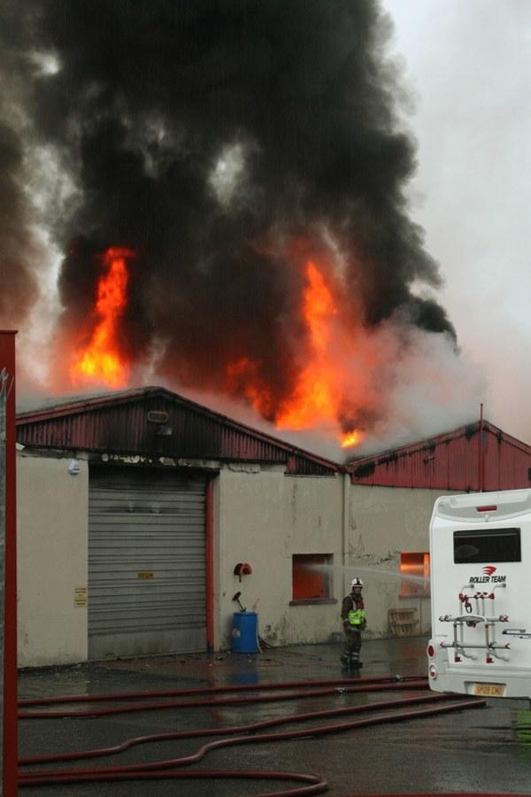Pic shows the fire at Perthshire Caravan Company, Errol.