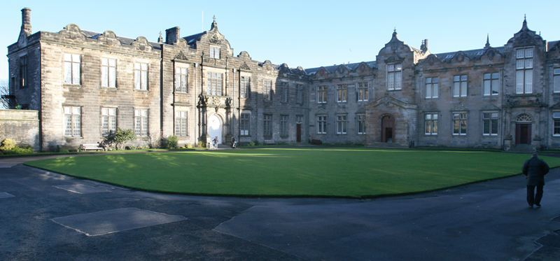 Picture at St Salvator's Quad, St Andrews University. Raisin Monday celebrations took place today at the university. BEFORE, pic shows the quiet and peaceful quad before the students entered with one student seemingly unaware of the chaos about to ensue!
