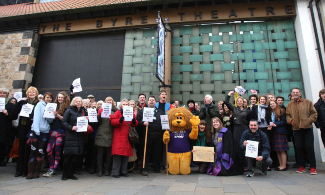 Kris Miller, Courier, 28/01/13. Picture today outside the Byre Theatre, St Andrews where people gathered in the hope of saving the closure threatened theatre.
