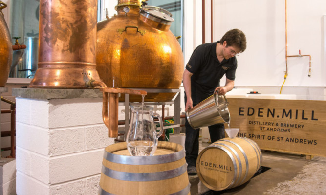 The very first whisky is casked.