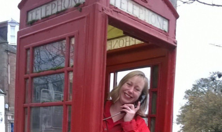 Marian Bruce in the Alyth phone box that will be transformed by the Story Box project.