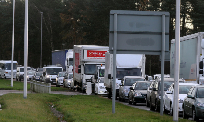 Traffic queuing at Claypotts junction.