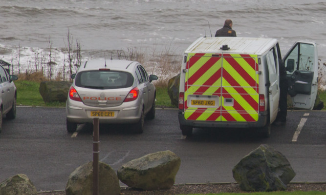 Police at the beach in Buckhaven where Jenny Brown's body was found.