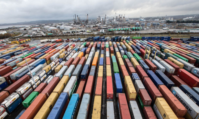 The port of Grangemouth handled a record 4,200 containers last week.