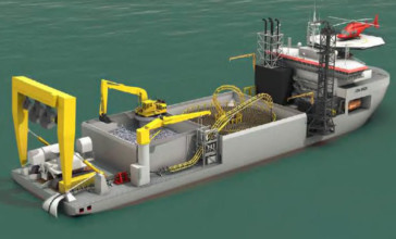 An impression of The cable-laying vessel for the Caithness-Moray transmission project