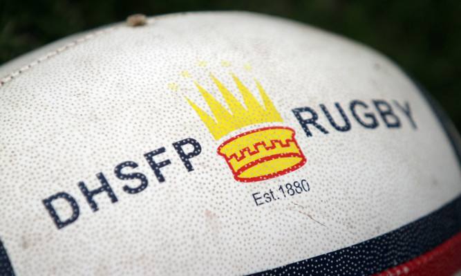 Kris Miller, Courier, 28/08/12. DHSFP (Dundee High School Former Pupils) Rugby Club squad pictures 2012/2013 season. Pic shows Rugby ball with club logo.