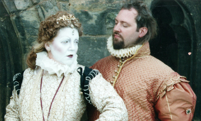 Dr Gareth Williams and bride- to-be Lesley Smith in character as the Earl of Bothwell and Mary Queen of Scots.