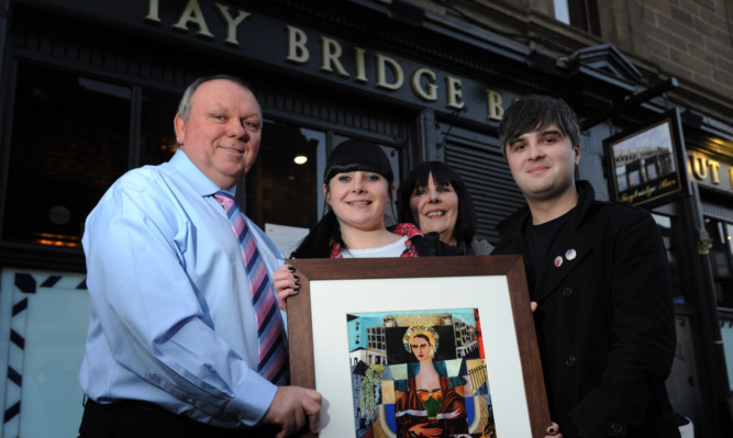 Jimmy Marr, and Alice, Peggy and Matthew Marra with the painting.