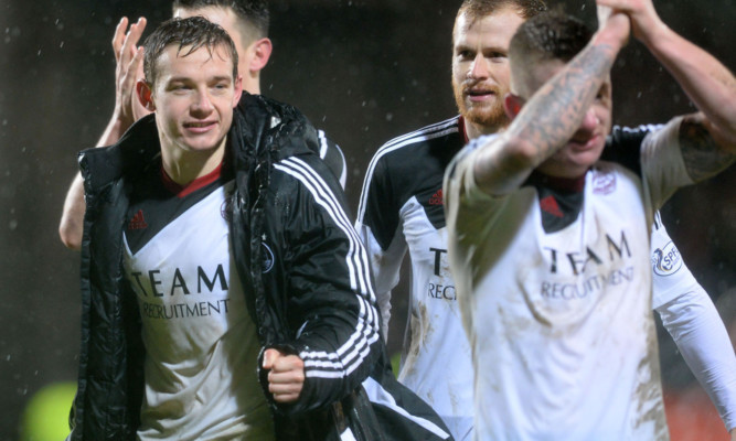 Aberdeen's Peter Pawlett celebrates at full time after scoring the winner late in the second half last season.
