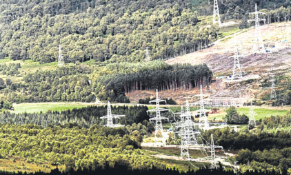 A view of the Beauly to Denny powerline from hills north of Aberfeldy.