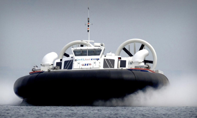 A hovercraft speeds across the Forth during the previous trial.
