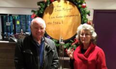 Ewans parents Jim and Carol McGregor at the Glenturret Distillery.