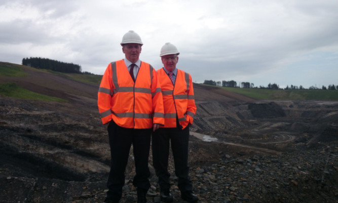 Fife MSP Alex Rowley, left, and Councillor Bob Young at St Ninians opencast mine near Kelty.