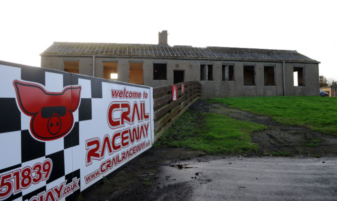 The derelict buildings at the former Crail Airfield.