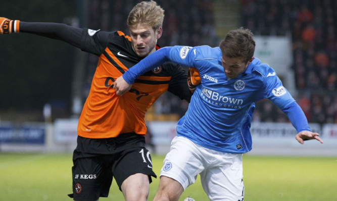Dundee United's Stuart Armstrong holds off Chris Millar.