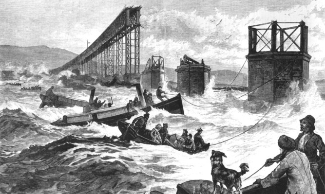 A drawing from 1880 depicting the disaster.