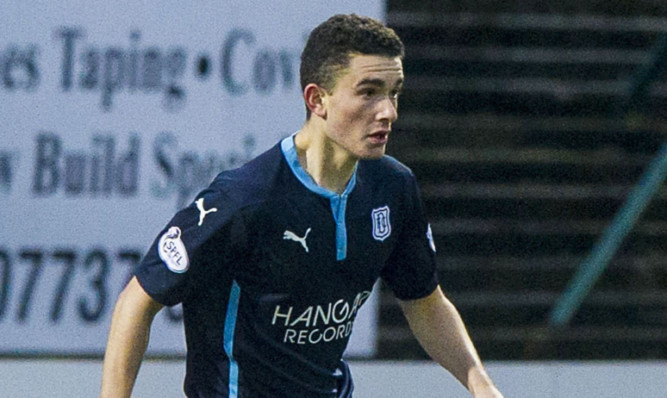 Alex Harris making his debut for Dundee against Ross County.