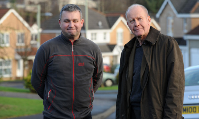 Graeme Milne, left, who lives in Innerleithen Way in Perth, and Councillor Willie Wilson.
