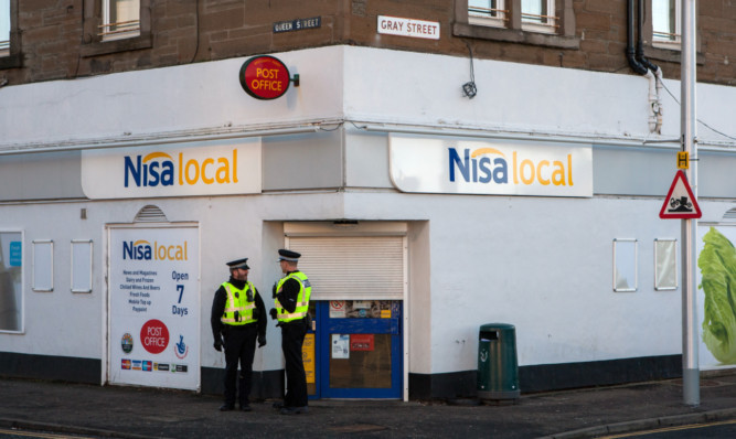George Mackie Thompson Bryceland is accused of robbing the Nisa store in Broughty Ferry.