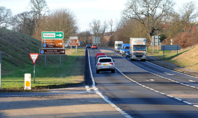 The A9 near Luncarty which is due to be upgraded to dual carriageway which will require compulsory purchase of land adjacent to the road.