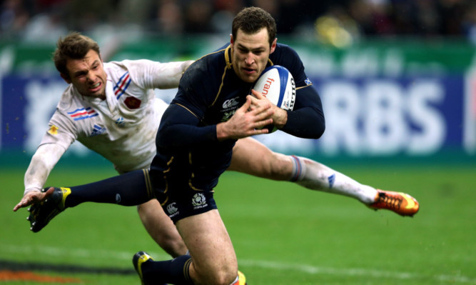Tim Vissers try against France. The winger said Scotland must learn to attack as well as they defend.