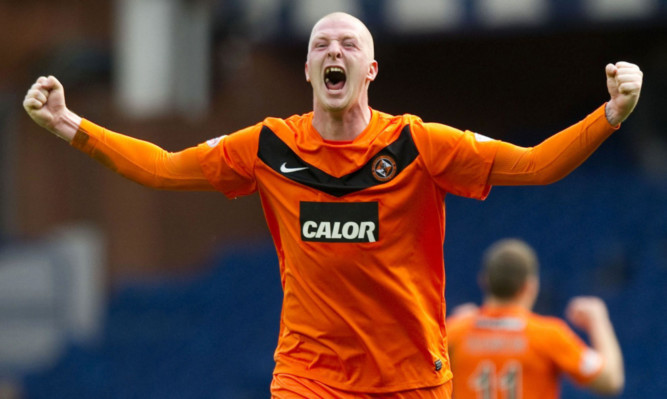 Garry Kenneth celebrates while playing for Dundee United.