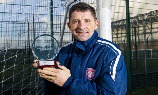 Arbroath manager Allan Moore collects his SPFL League Two Manager of the Month award