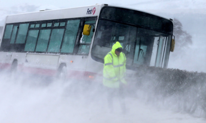 A bus came off the road on the A875 near Killearn in Stirlingshire in blizzard conditions.