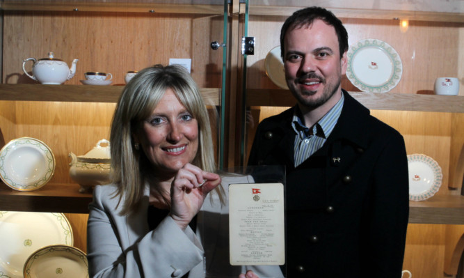 Judith Owens of Titanic Belfast with the menu's owner, Rupert Hunt.