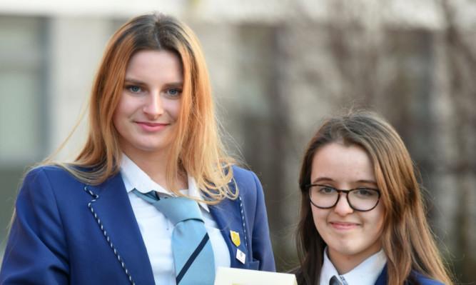 Grove Academy pupils Natalia Wodja, left, and Rachel Lonie.