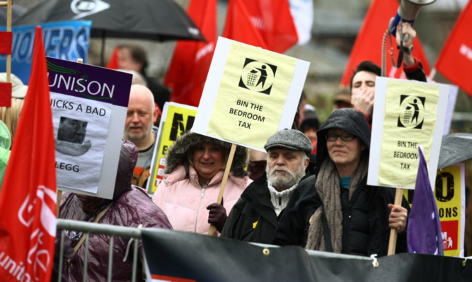 Campaigners have protested against the 'bedroom tax' in Dundee.
