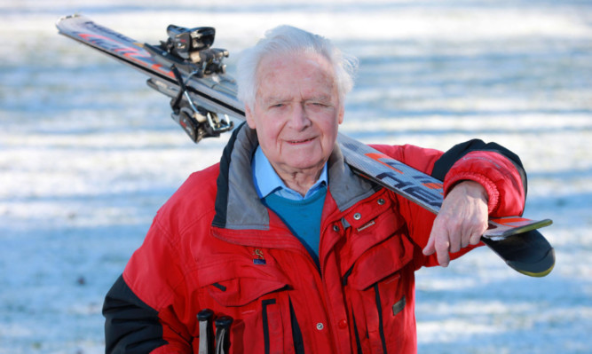 George Stewart, from Scone, still enjoys skiing at the age of 95.