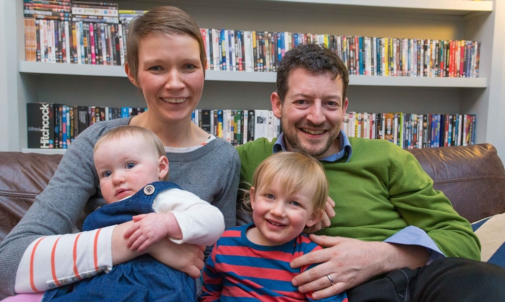 Gaelic speaking Mr Andrew Storey and NHS Consultant may have to leave town if allowances are not made for Gaelic language to be taught in local schools. In photo Kirsten Kruszewski. Kids Isobel (9 months) and Alexander (2)