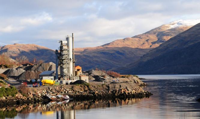 Quarrying at Breedon's Bonawe facility on the west coast of Scotland.