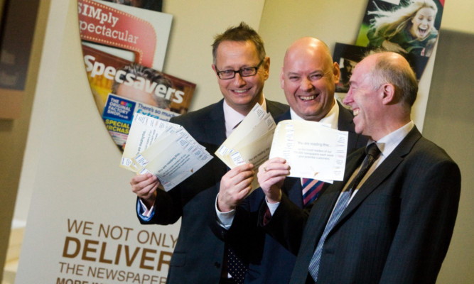 At the launch of DC Thomson's new advertising inserts service (from left) head of commercial Mark Hopkins, inserts consultant David Bloomfield and newspaper group inserts manager John Craig.