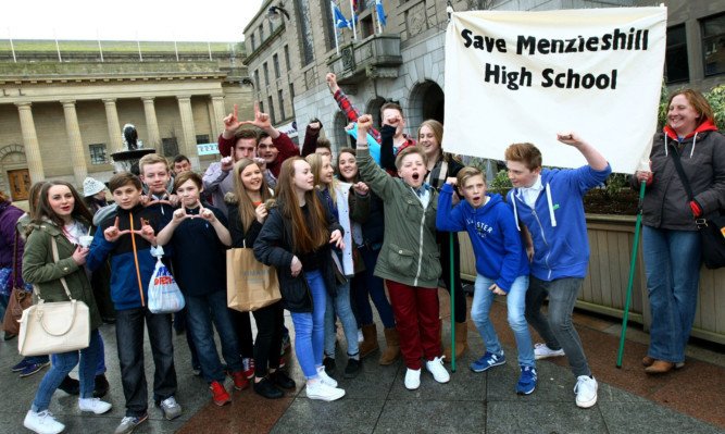 Protesters gathered outside the City Chambers to plead for the future of Menzieshill High School.
