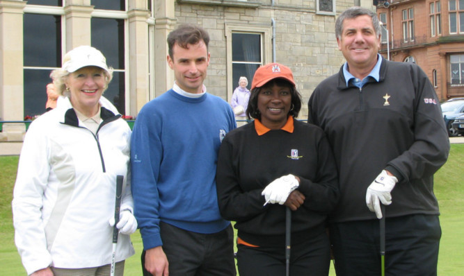 Renee Powell (second from right) on the first tee of the Old Course, St Andrews, with Lady Angela Bonallack, New Links co-founder Kenny Wood and Brian Whitcomb, former president of the PGA of America.