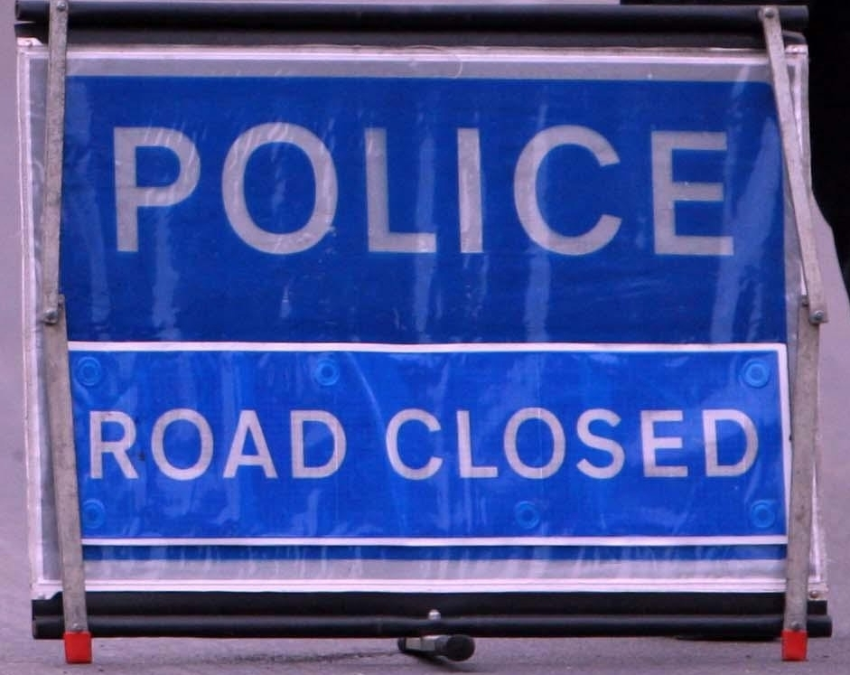 A police road block after an RAF Harrier Jet crashed in a field near Ashwell, Rutland, Leicestershire.