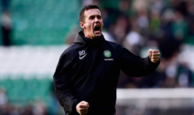 Ronny Deila celebrates after Sunday's victory over Aberdeen.