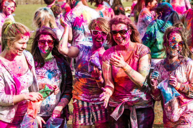 Dundee University was an explosion of colour as dozens gathered to throw powdered paint for the Holi Colour Festival.