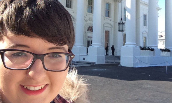 Dundee and Angus College student Jordan Poland could not resist a selfie in front of the White House.