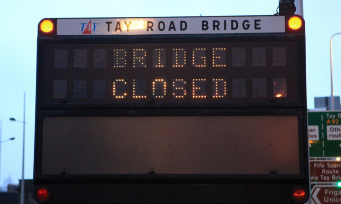 Gales, high winds - Tay Road Bridge closed sign in East Dock Street, Dundee.